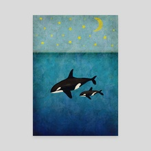 Whales at night - Canvas by Oksana Tarasova