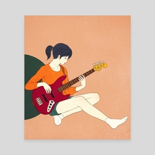 Playing the bass - Canvas by Sai Tamiya