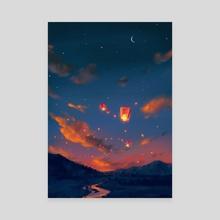 Lanterns - Canvas by Matylda Tomaszewska