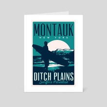 montauk ditch plains vintage travel poster - Art Card by matt schnepf