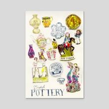 English Pottery  - Acrylic by Rebecca Bradley