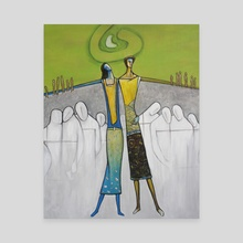 Happy couple among the faceless crowd. - Canvas by Carole Newman
