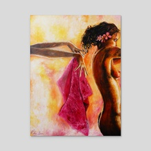Pink Towel - Acrylic by Ricky Loree