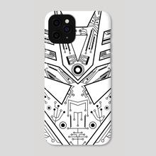 Decepticon Tech black & white - Phone Case by Genevieve Blais