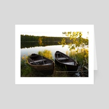 Boats on the river - Art Card by Violetta Derkach