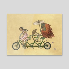 Monkey on My Bike - Acrylic by Liza Ferneyhough