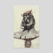 Squating Gnome - Canvas by Charles Lister