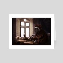 Medieval Doges 02: The pug scribe - Art Card by Sam King