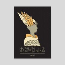 Greek Theme Golden Scrolls - Canvas by Dahlia