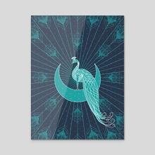 Peafowl On The Moon - Acrylic by Dahlia