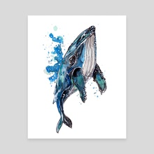 Blue Humpback Whale - Canvas by Sebastian Grafmann