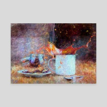 Coffee Splash Impressionist Painting - Canvas by Bridget Garofalo