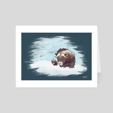 Musk Ox (dark background) - Art Card by Andrew Lonning