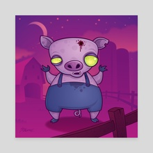 Zombie Pig - Canvas by John Schwegel