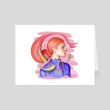Girl with Koi - Art Card by The Pink  Ka