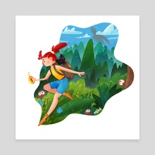 Travel Girl - Canvas by Agnieszka Maszota