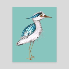 Funny blue heron - Canvas by Bianca Wisseloo