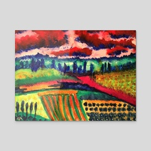 Vineyard - Acrylic by Tomas Albergo