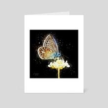 Small Blue Butterfly - Mixed Media - Art Card by Dreamframer Art
