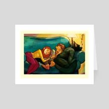 Lupo Sleeping - Art Card by Paul Peart Smith