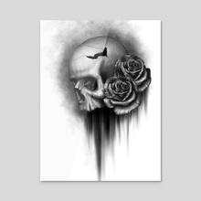 Skull and Rose 2 - Acrylic by Rodger Pister