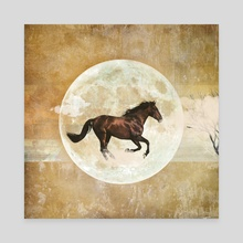 Runnin' horse over the moon - Canvas by Mihalis Athanasopoulos