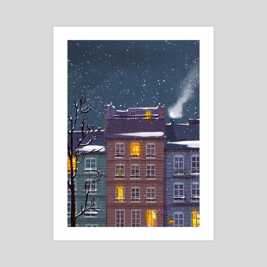 Snowy Street by Matylda Tomaszewska