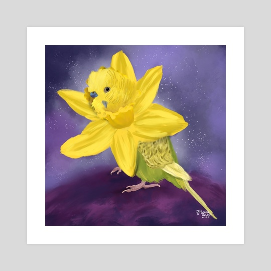 Yellow Parakeet + Daffodil by Meghan Keeley