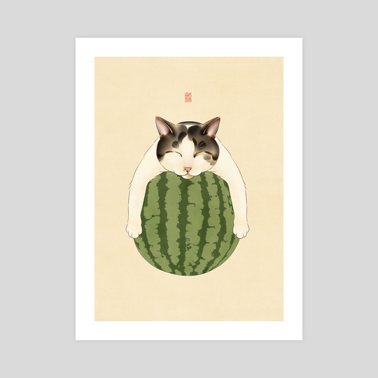 Watermelon Sleep Cat by Broccoli Cat Art