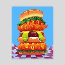 Mile-High Fried Chicken - Canvas by David Yu