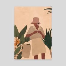 Woman Illustration, Boho Art Print - Canvas by Ariani Anwar