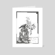 Tui bird, pohutukawa and kowhai - Art Card by Anais Rebella