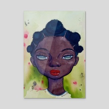 Puff puff on my sister's head (iv)  - Acrylic by Adulphina Imuede