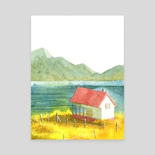 Home and Mountain and Lake and Yellow Field - Canvas by Bew Wanchai
