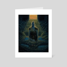 First Light of Dawn Seeping into Overgrown Tomb  - Art Card by Jesse Jacobi