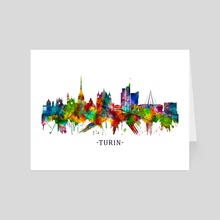 Turin Italy Skyline - Art Card by Towseef Dar