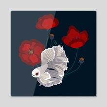 Betta and Poppies 1 - Acrylic by pikaole