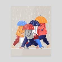 Umbrella heads in rain - Acrylic by Somewan draws