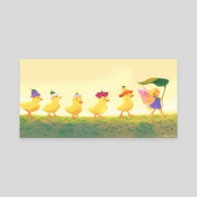 Duckling Parade - Canvas by Beverly Johnson