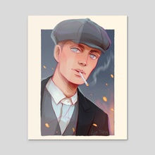 Tommy Shelby - Peaky Blinders - Acrylic by Luz Tapia