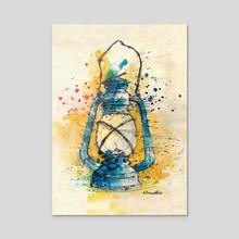 Rusty Lantern - Acrylic by Marina Veselinovic