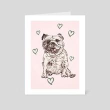 Happy Bulldog - Art Card by Min Morris