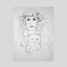 Portrait of girl with cat - Canvas by Cristiana Grati
