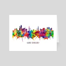 Abu Dhabi UAE Skyline Watercolor - Art Card by Towseef Dar