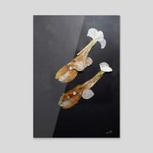 Whale bubs -Reincarnation series - Acrylic by Aamina Hashmi