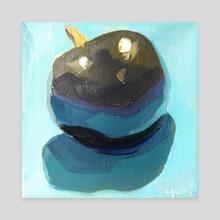 A Plum on Light Blue Paper - Canvas by Yuri Tayshete