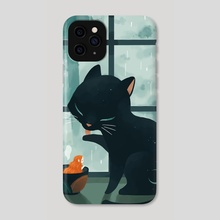 Cat and the Rain - Phone Case by Indré Bankauskaité