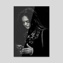 Beauty Woman Black and White Photo Illustration - Acrylic by Daniel Ferreira Leites
