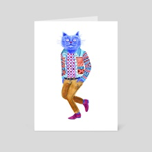 Blue Cat Man - Art Card by Lisa Hanawalt