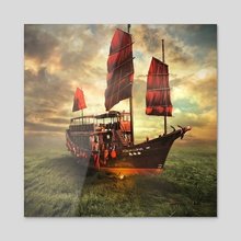 sail boat - Acrylic by Even Liu
